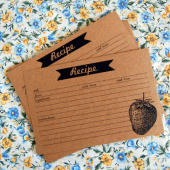 Strawberry and banner recipe cards