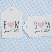 Initials and heart favor tags