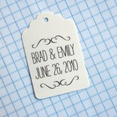 Swirly names and date favor tags