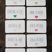 Mismatched hearts escort/place cards