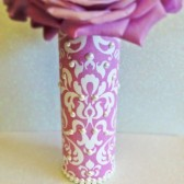 Pink & White Fabric Bridal Bouquet Handle With Pearls