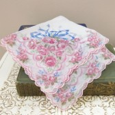 Vintage Handkerchief - Pink and Blue