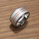 Knurled Copper Titanium Ring