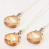 Golden Shadow, 3 Swarovski Necklaces on Sterling Silver, Bridal Party Gifts