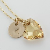 Monogramed Golden Shadow Heart and 14k Gold Filled Necklace