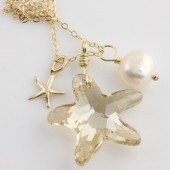 Beach Dreams, Swarovski Ctrystal Starfish Necklace on 14k Gold Filled