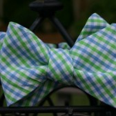 Blue and Green Checked Bow Tie