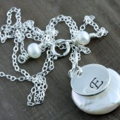 Personalized Coin Pearl Necklace on Sterling Silver