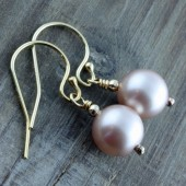 Powder Almond Swarovski Pearl Earrings on 14k Gold Filled