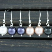 Bridesmaids Gifts, 4 Pairs of Swarovski Pearl earrings on Sterling Silver Ear Wires, You Choose The Color