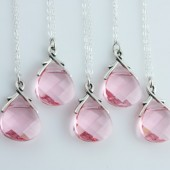 Pretty in Pink, Set of 5 Brides Maids Necklaces