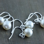 Bridesmaids Gifts, 3 Keep Sake Pearl Earrings on Sterling Silver Ear Wires