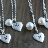 Bridesmaids Gifts, 4 Personalized Sterling Silver Heart and Fresh Water Pearl Necklaces