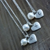 Bridesmaids Gifts, 3 Personalized Sterling Silver Heart and Fresh Water Pearl Necklaces