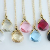 You choose your color, Set of 7 Swarovski Necklaces on 14k Gold Filled, Bridal Party Gifts