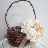 Flower girl basket  with ivory peony