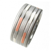 Dashed Silver Copper Titanium Ring