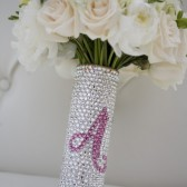 Crystal Bridal Bouquet Handle With Your Initial