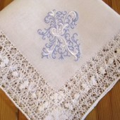 Venice Style Lace Handkerchief with Fancy 1-Initial Monogram