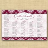 Damask Background Wedding Seating Chart