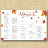 Falling Leaves Wedding Seating Chart