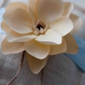 White Burlap Ring Pillow With Ribbon and Magnolia