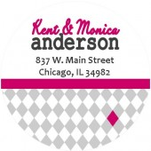 Checked hot pink address label