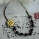 Tabithia. - Ivory Cream Flower Cabochon, Black Faceted Glass Beads Brass Necklace.