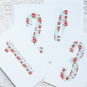 Vintage floral table numbers