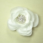 Magnetic White Ranunculus Flower Brooch
