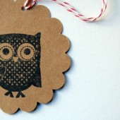 Owl scalloped circle kraft tags