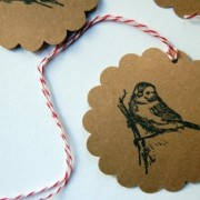 Bird scalloped circle kraft tags