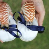 Double Ringer Bearer - Nautilus Shell Ring Bearer Pillows