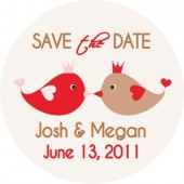 Kissing birds save the date sticker