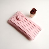 Romantic Rose pleats in pink zippered pouch, clutch, purse by Lolos