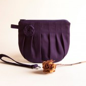 Romantic Rosebud pleats in dark purple zippered pouch, purse, clutch, wristlet by Lolos