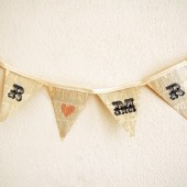 Mr and Mrs heart bunting banner