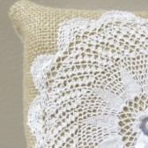 Ring Bearer Pillow - Vintage Doily and Burlap