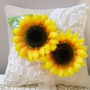 Ring Bearer Pillow - Burlap, lace and sunflowers
