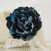 Ring Bearer Pillow - Burlap, lace, blue flower