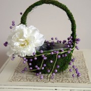 Moss covered flower girl basket