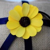 Burlap Ring Pillow with Sola Daisy