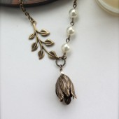 Forsythia - Tulip Petal Brass Caps with Oxidized Brass leaf branch, Swarovski Pearls Necklace