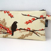 Sparrows In Bark Zippered Clutch Pouch