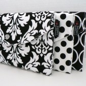 Set Of 3 Black And White - Bridesmaid Snap Clutches