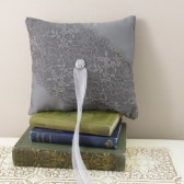 Gray ring bearer pillow - satin and lace