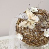 Rustic Grapevine Pomander - Ivory with butterfly detail