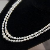 Double Strand Freshwater Pearls, Rhinestone Rondelles