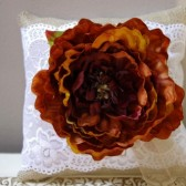 Fall Ring Bearer Pillow with Burnt Orange Flower