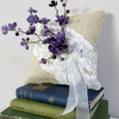 Ring Bearer Pillow - Rustic burlap and lace with purple flowers
